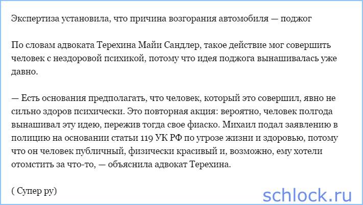 Терехин написал заявление в полицию