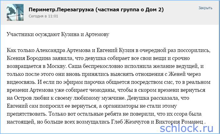 Участники осуждают Кузина и Артемову
