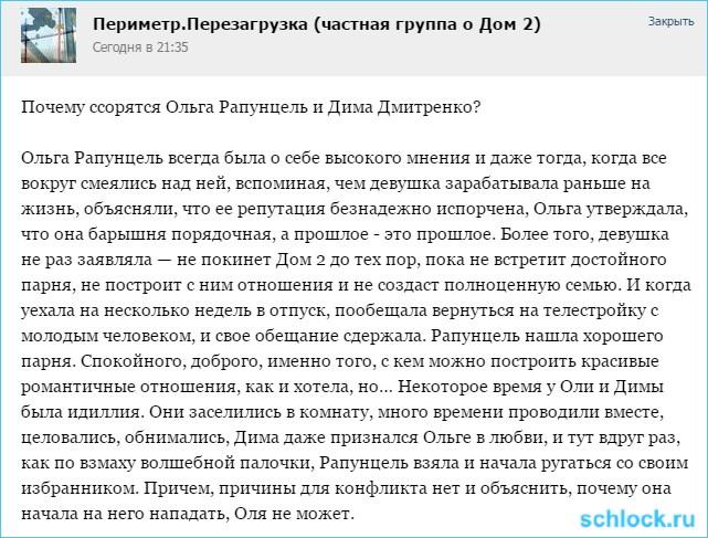 Почему ссорятся Рапунцель и Дмитренко?